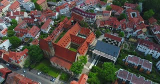 Aerial Erfurt Germany Martin Luther Monastary Church Reformation History Cinematic Drone