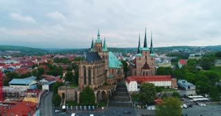 Aerial Erfurt St Marys Cathedral Germany St Severus Church Reformation History Cinematic Drone