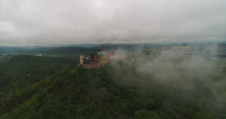 Aerial Foggy Clouds Eisenach Germany Martin Luther Reformation History Cinematic Drone