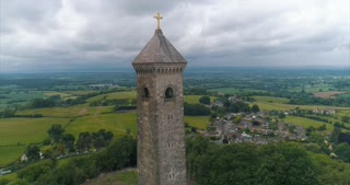 Aerial Gloucester England William Tyndall Monument Reformation History Cinematic Drone