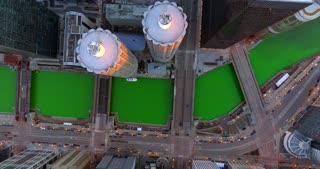 Aerial Green River St Patricks Day Chicago Illinois Skyline Urban