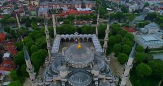 Aerial Hagia Sophia Blue Mosque Istanbul Turkey Jib Lowering Arabic Quran Islamic Prophet Muhammad Establishing Drone Shot