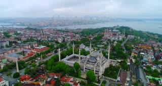 Aerial Hagia Sophia Blue Mosque Istanbul Turkey Jib Lowering Establishing Drone Shot