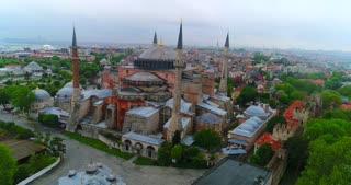 Aerial Hagia Sophia Blue Mosque Istanbul Turkey Middle East Muslum Trump Ban Orbit Establishing Drone Shot