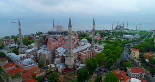 Aerial Hagia Sophia Blue Mosque Istanbul Turkey Pull Back Cinematic Establishing Drone Shot