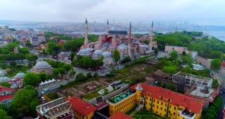 Aerial Hagia Sophia Istanbul Turkey Basilica Orbit Establishing Drone Shot