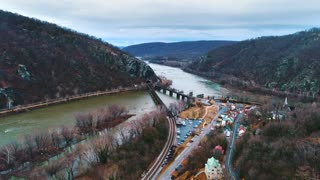Aerial Harpers Ferry Train West Virginia Potomac River History Cinematic John Browns Fort Race Equality Drone