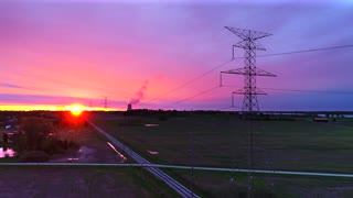 Aerial High Tension Power Lines Nuclear Power Plant Sunrise Drone