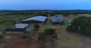 Aerial Horses Texas Ranch Sunset Horse Barn Paddock Field Drone 4K