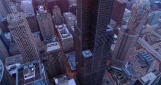 Aerial Chicago Illinois Sunrise Skyline Cinematic Skyscrapers Urban Willis Tower Helicopter Tour
