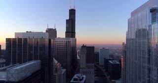 Aerial Illinois Sunrise Skyline Cinematic Skyscrapers Urban