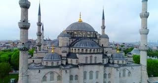 Aerial Istanbul Turkey Basilica Jib Move Establishing Shot Blue Mosque