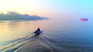 Aerial Jib Fishing Boats River Asian Canoe Sunrise Cinematic Drone