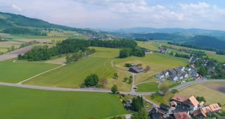 Aerial Kappel Switzerland Sweeping Over City Reformation History Cinematic Drone