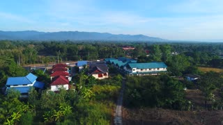 Aerial Laos Countryside Asia Mountians Remote Resort Birds