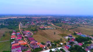 Aerial Laos Countryside Drone Town Tourism Asia Culture 4K