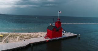 Big Red Lighthouse Holland Michigan Aerial Storm Blowing In Cinematic Drone