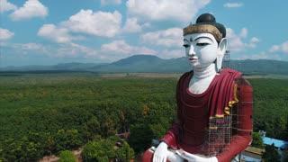 Aerial Massive Buddha Statue Asia Countryside Drone