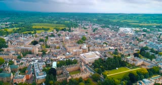 Aerial Oxford College England City Establishing Shot Cinematic Drone