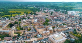 Aerial Oxford England City Establishing Shot Cinematic Drone