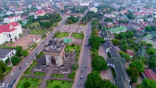 Aerial Patuxai Monument Vientiane Laos Skyline Temple City Tourism Asia Culture 4K