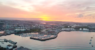 Aerial Plymouth Harbor England Sunrise Ocean Marina Cinematic Drone