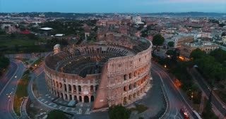 Aerial Rome Italy Sunrise Colosseum Cinematic