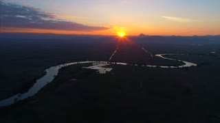 Aerial Sunset Asian Landscape Jungle River Incredible Flyover Drone