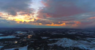 Aerial Sunset Hyperlapse Cloud Movement 4K Nature Drone