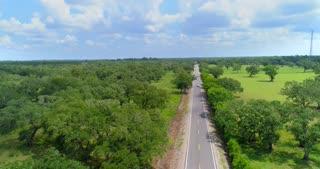 Aerial Texas Road Flat Countryside 4K