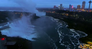 Aerial Toronto Canada Orbit Skyline Pre Dawn Niagara Falls Waterfall Urban River Flight Mist Landmark Usa Tourist Destination