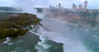Aerial Toronto Canada Skyline Niagara Falls Flyover Cinematic Dramatic Toronto Canada Orbit Skyline Pre Dawn Waterfall Urban River Flight Mist Landmark Usa Tourist