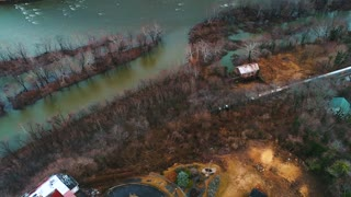 Aerial Train Along River West Virginia Potomac River History Cinematic Drone