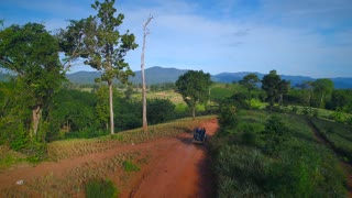 Aerial Truck Driving Outback Wilderness Pinnaple Farm Mountians Laos Thailand