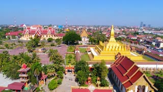 Aerial Vientiane Laos Capitol Temple Palace Flying View Drone Footage Pha That Luang 4K