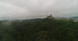 Aerial Wartburg Castle Foggy Clouds Eisenach Germany Martin Luther Reformation History Cinematic Drone