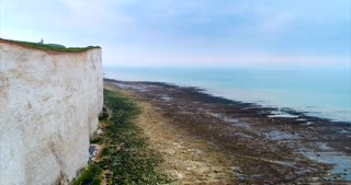 Aerial White Cliffs Ocean England Travel Cinematic Drone