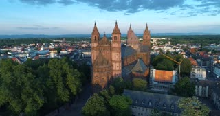 Aerial Worms Cathedral Germany Reformation History Cinematic Drone