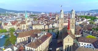 Aerial Zurich Switzerland Orbit Church Europe Bridge Clock Architecture Tourist Ulrich Zwingli Reformation Medieval Cathedral