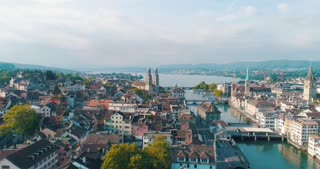 Aerial Zurich Switzerland Sweeping Over City Reformation History Cinematic Drone