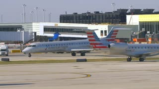 American Airlines Usa Flag Busy Airport Tarmac Airlines Pilots Taxying Airplane Flying Away From Airport Travel Jumbo Boeing Commercial Aviation Vacation Jet Engine Thrust