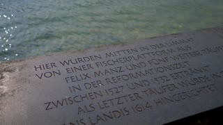 Anabaptist Drowning In River Plaque Slider Shot Reformaiton Zurich Switzerland