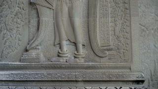 Ancient Civilizations Remains Angkor Wat Carvings Ruins Temple Siem Reap Cambodia 4K
