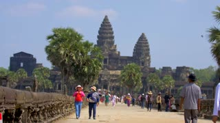 Angkor Wat Temple Tourists Thomb Siem Reap Cambodia Attraction Palm Trees Tropical Tropics Cinematic Asia