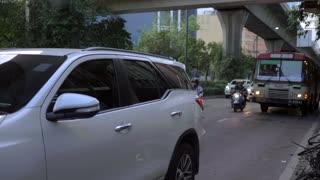 Bangkok City Traffic Jam Motorcycle Urban