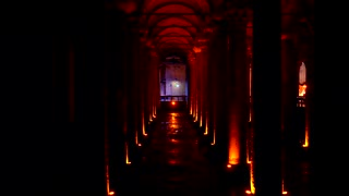 Basilica Cistern Jib Move Istanbul Turkey Water Storage History Roman Ruins Sunset Establishing Shot