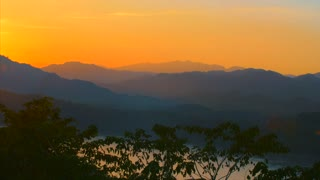 Beautyful Sunset Over Asian Mountians Luang Probang Laos Sun Rays Asia Asian Countryside Cinematic 4K