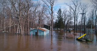 Buchanan Michigan Flooding River Natural Disaster Drone
