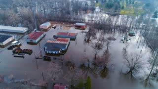 Buildings Under Water Flooding Devastation Natural Disasters Earth Destruction Cinematic Drone