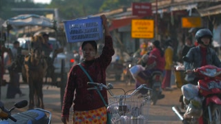 Bustling Street Market Asian Authentic Burmese People Myanmar 4K 60fps